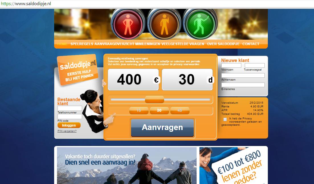 Saldodipje.nl als minilening kredietverstrekker